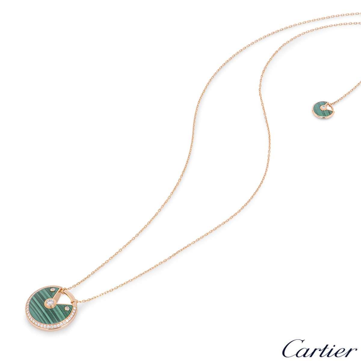 Cartier Rose Gold Malachite Amulette De Cartier Necklace